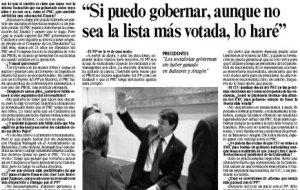"""""""Si puedo gobernar, aunque no sea la lista más votada, lo haré"""""""